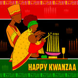 Happy Kwanzaa greetings for celebration of African American holiday festival  harvest. Illustration of Happy Kwanzaa greetings for celebration of African Royalty Free Stock Photography