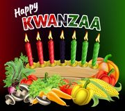 Happy Kwanzaa Sign. A Happy Kwanzaa candles and first harvest fruits decoration holiday background illustration Stock Photography