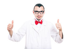 Happy lab geek thumbs up Royalty Free Stock Photo