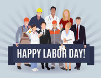 Happy Labor day american banner concept design, vector illustration. Royalty Free Stock Photos