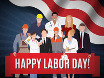 Happy Labor day american banner concept design, vector illustration. Stock Photo