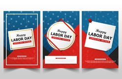 Happy Labor day american flag banner collections, labor day flyer brochure ads template set royalty free illustration