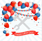 Happy Labor Day background with balloons. Royalty Free Stock Photos