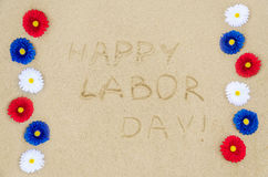 Happy Labor day background on the beach Stock Images