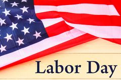Happy Labor day banner, american patriotic background, text on United States of America flag. Happy Labor day banner, american patriotic background, text on stock image