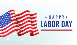 Free Happy Labor Day, Banner, Poster With Congratulations And American Flag Stock Photography - 131324652
