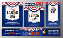 Happy Labor day banner set Royalty Free Stock Images