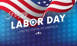 Happy Labor Day. Blue gradient background. Gears background. Waving flag. Vector. Stock Photos