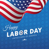 Happy Labor Day. Blue gradient background. Gears background. Waving flag. Vector. Stock Image