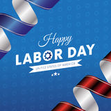 Happy Labor Day. Blue gradient background. Waving flag. Red and blue gradient ribbons. Gears background. Vector. Stock Photos