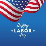Happy Labor Day. Blue gradient background. Waving flag. Vector. Royalty Free Stock Photography
