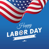 Happy Labor Day. Blue gradient background. Waving flag. White Ribbon. Vector. Stock Photo