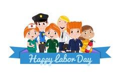 Happy labor day postcard template vector illustration