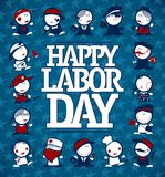 Happy Labor day card concept. With figures of different professions Stock Photos