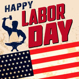 Happy labor day card template. Flag of USA on grunge background. Vector illustration Stock Photo