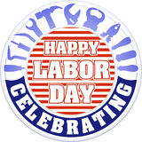 Happy labor day celebrating colorful round emblem with striped b Stock Image