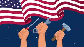 Happy labor day celebration with usa flag and hands lifting tools