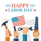 Happy Labor day. Concept. Holding in hand American flag, hammer, wrench. Hands in top with tool as a symbol Labor day. Vector illustration flat style. Banner vector illustration