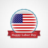 Happy Labor Day Design. American Flag in Circle Label With Text Happy Labor Day Inside Red Ribbon. Vector Illustration stock illustration
