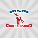 Happy Labor Day.elebration construction, tool wrench in hand Royalty Free Stock Photography