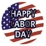 Happy labor day emblem. American holiday symbol with text on rounded the USA flag background Stock Image