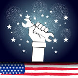 Happy labor day with firework background. Happy labor day with firework background Royalty Free Stock Photo
