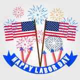 Happy labor day with firework background. Happy labor day with firework background Stock Images