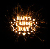 Happy Labor Day greeting in sparks Stock Photo