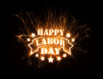 Happy Labor Day greeting in sparks Royalty Free Stock Image