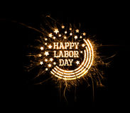 Happy Labor Day greeting in sparks Royalty Free Stock Photography
