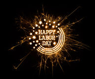 Happy Labor Day greeting in sparks Stock Image