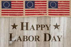 Happy Labor Day Greeting with flags Vector Illustration