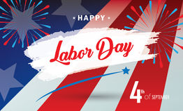Happy Labor day. Holiday banner with American national flag red, blue, white colors, fireworks, stars, hand lettering text design. Patriotic poster background Stock Images