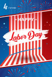 Happy Labor day poster. Happy Labor Day holiday banner with American national flag red, blue, white colors, fireworks, stars, hand lettering, calligraphy text Stock Photography