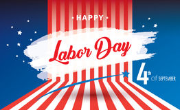Happy Labor day. Holiday banner with American national flag red, blue, white colors, fireworks, stars, hand lettering, calligraphy text - Congratulations! Royalty Free Stock Photos