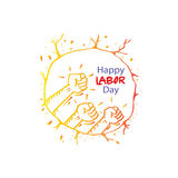 Happy labor day. Human fist gesture among blur arm group. Illustration of Labor Day concept Royalty Free Stock Photos