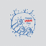 Happy labor day. Human fist gesture among blur arm group. Illustration of Labor Day concept Stock Photo