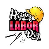 Happy Labor Day lettering. Cartoon design with construction tools and protective helmet. vector illustration