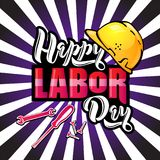 Happy Labor Day lettering. Cartoon design with construction tools and protective helmet on pop art rays background stock illustration