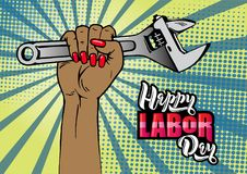 Happy Labor Day lettering. Cartoon female hand with manicure holds adjustable wrench. royalty free illustration
