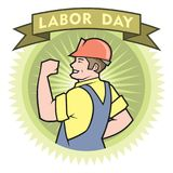 Happy Labor Day. Man with red helmet celebrate Labor Day royalty free illustration