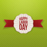 Happy Labor Day paper white Banner. With red festive Ribbon on striped green Background. Vector Illustration Stock Image