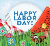 Happy Labor Day Picnic Art. With Watermelon, paper plates, fork, knife, flowers, grass, and bug ant stock illustration