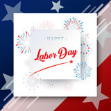 Happy Labor day! poster. Congratulations! poster of Happy Labor Day holiday banner with American national flag red, blue, white colors, fireworks, stars, hand Royalty Free Stock Photo