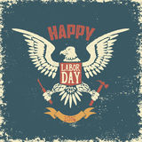 Happy labor day poster template. Eagle on grunge background. Royalty Free Stock Image