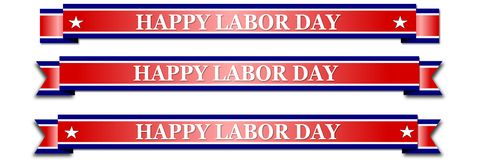 Happy Labor Day, red banner with stars. On white background Stock Photo