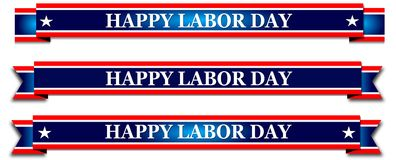 Happy Labor Day, red banner with stars Royalty Free Stock Image