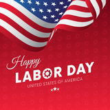 Happy Labor Day. Red gradient background. Gears background. Waving flag. Vector. Stock Photos
