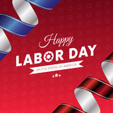 Happy Labor Day. Red gradient background. Waving flag. Red and blue gradient ribbons. Gears background. Vector. Happy Labor Day. Red gradient background. Waving Stock Illustration