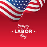 Happy Labor Day. Red gradient background. Waving flag. Vector. Stock Images